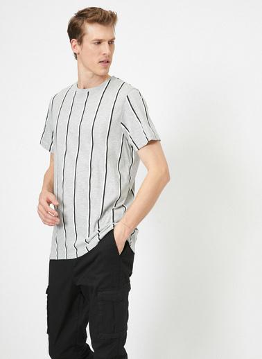 Koton Çizgili T-Shirt Gri